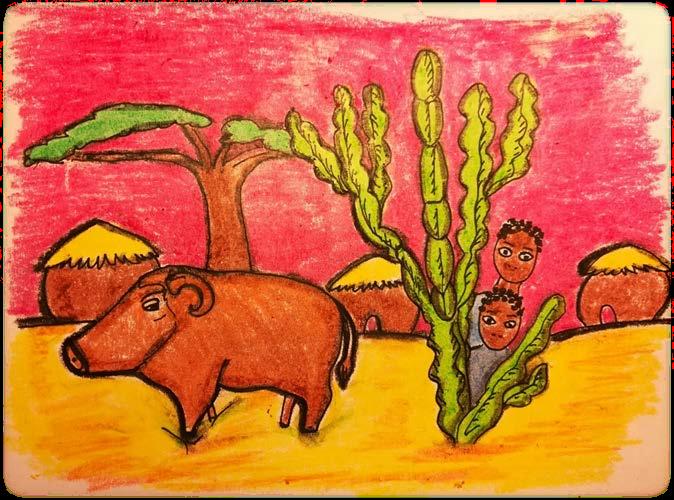 Immagine che raffigura maiale grassoccio in un cespuglio